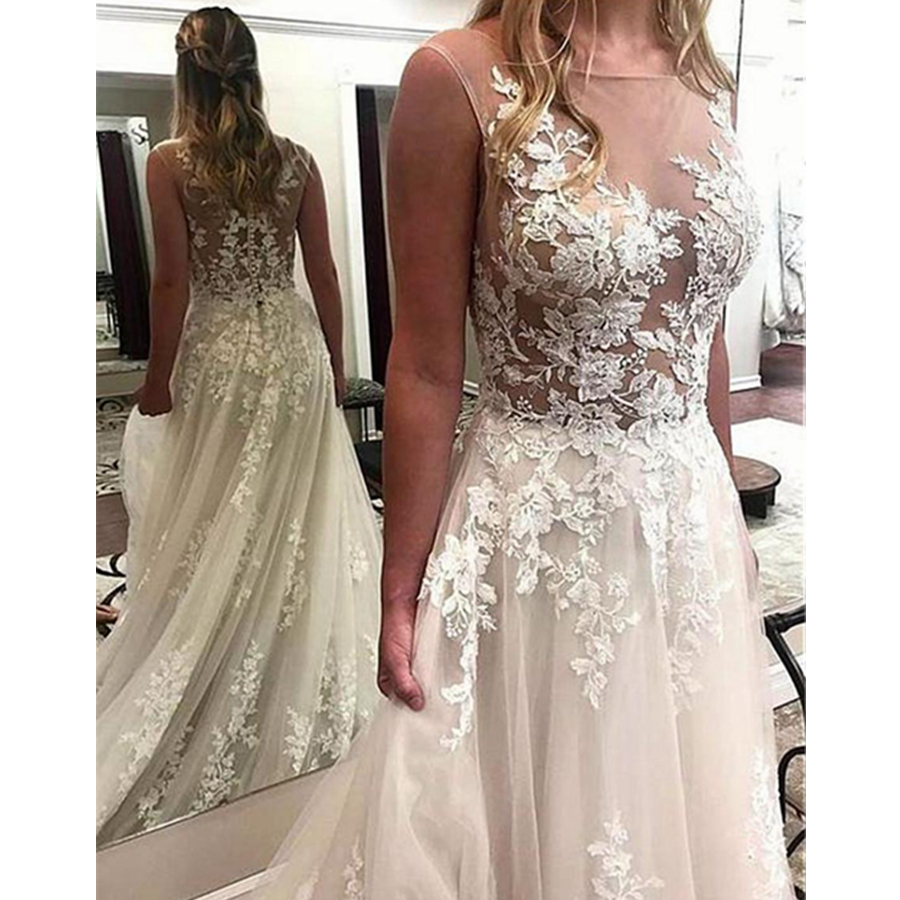 2019 New Tulle Bateau Neckline See through Bodice A line Wedding Dresses With Lace Appliques Formal Bridal Dress
