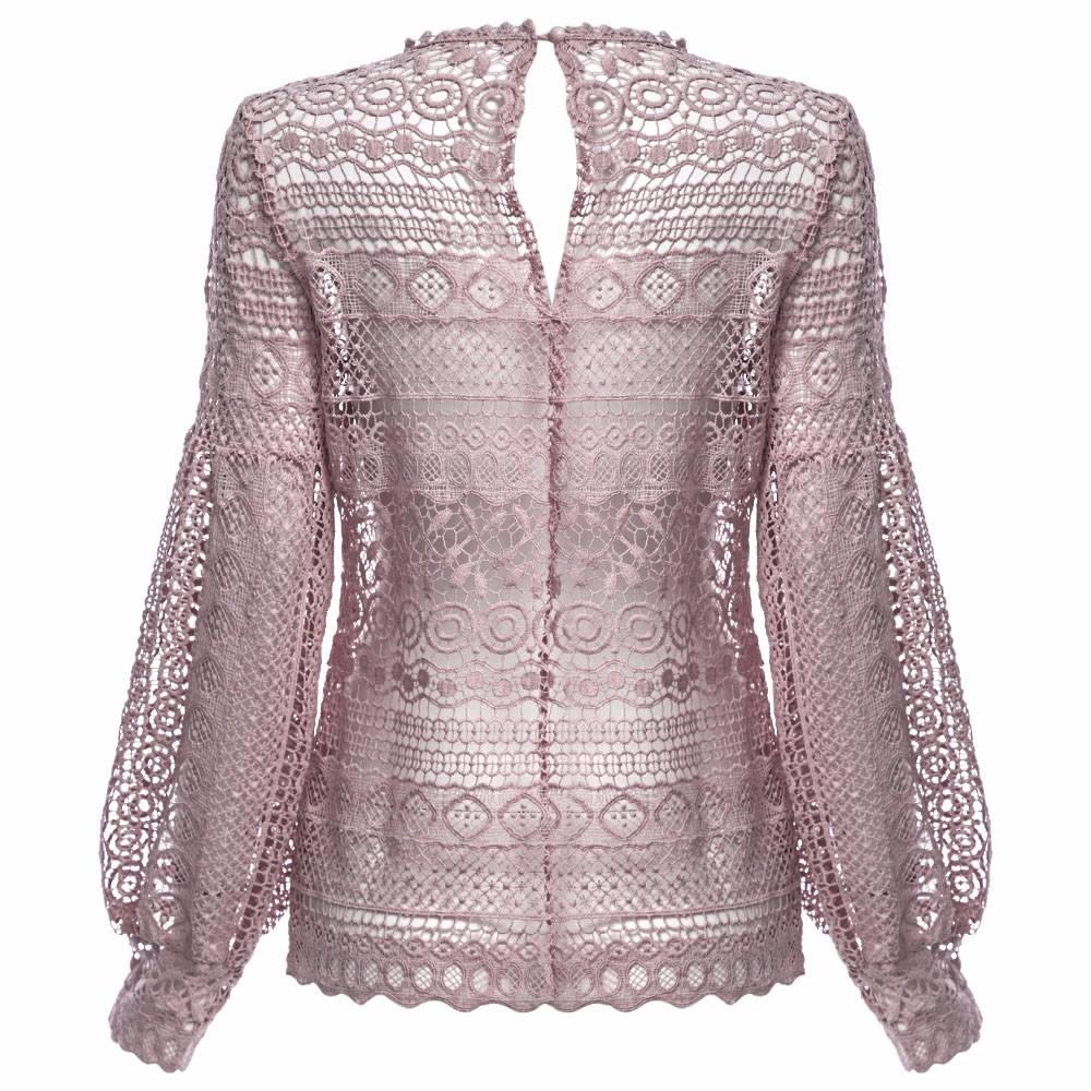 VESTLINDA Sexy Lace Hollow Out Blouse Shirt Women Blusas Feminina 2017 O Neck Lantern Sleeve Blusa Ladies Elegant Lace Blouse 23