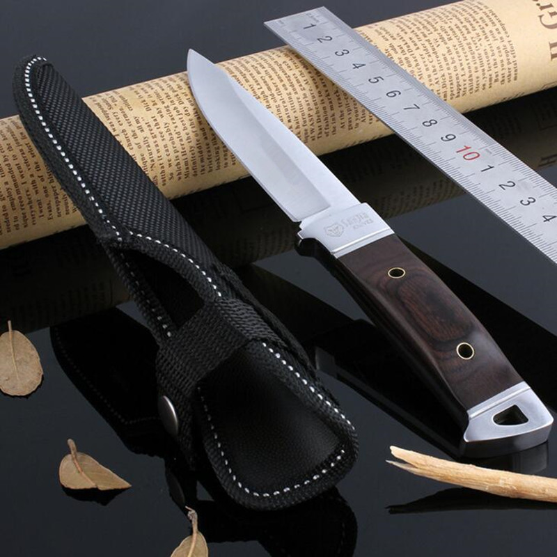 55HRC Leggings Fixed Blade font b Knife b font Outdoor Survival Camping 3Cr13Mov font b Knife