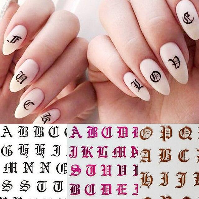 1pc Lettera Gotica 3D Nail Sticker Oro Rosa Parole Cursore Decalcomanie Autoadesivo Adesivo Del Chiodo Punte del Manicure di Unghie Artistiche Decorazione