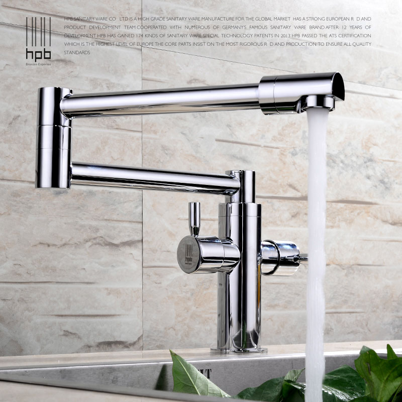 HPB Brass Chrome Deck Mounted Kitchen Pot Filler Faucet Sink faucets Mixer Tap Cold Hot Water Swivel Spout Single Hole HP4008 golden brass kitchen faucet dual handles vessel sink mixer tap swivel spout w pure water tap