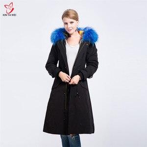 Image 5 - Yeni moda kadınlar lüks büyük rakun kürk yaka kapüşonlu ceket sıcak vizon kürk astar Parkas uzun kışlık ceketler en kaliteli
