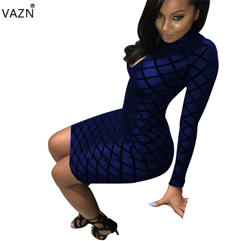 VAZN Hot <font><b>Fashion</b></font> <font><b>Elegant</b></font> Style <font><b>2018</b></font> Bandage Dress Full Sleeve Mini <font><b>Bodycon</b></font> Dress <font><b>Sexy</b></font> <font><b>Women</b></font> Club Dress S-XXL 3113 image