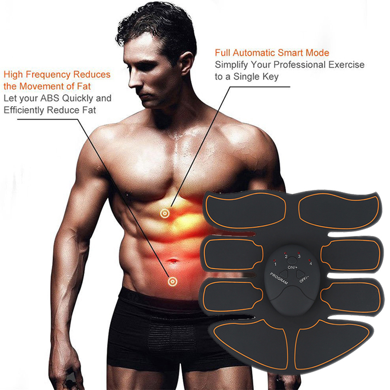 Купить с кэшбэком New EMS Abdominal Muscle Exerciser Trainer Smart ABS Stimulator Fitness Gym ABS Stickers Pad Body Loss Slimming Massager Unisex