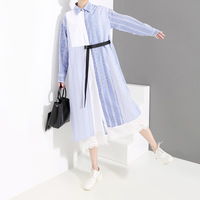 Large size women's clothing New Striped Patchwork Shirt Dress Women Turn down Collar Long Sleeve 2019 Spring 3 Colors Loose Stre