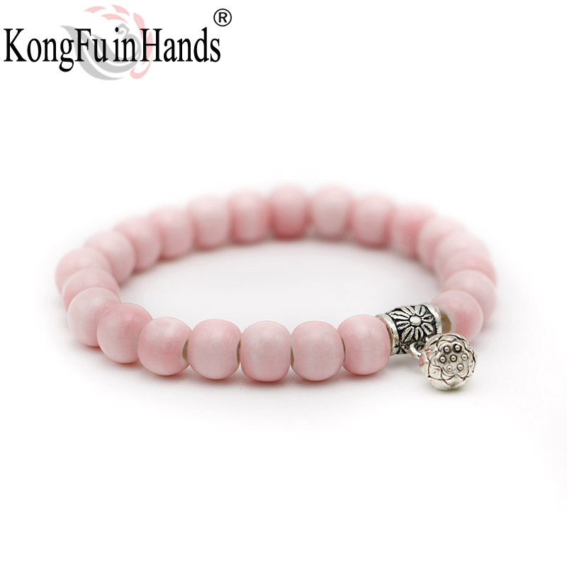 kongfuinhands Bigiotteria Boemia Perline colorate Bracciale in ceramica Regalo per bambini Regalo del giorno seedpod del regalo souvenir lotusfree