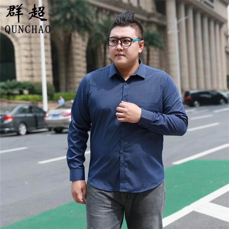 Fat Guy Plus-size 5XL 6XL 7XL 8XL Dark Navy Blue Twill Formal Long Sleeve Men Shirt Garment For The Elderly Loose 120kg 130kg