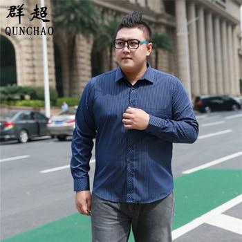 Fat Guy Plus-size 5XL 6XL 7XL 8XL Dark Navy Blue Twill Formal Long Sleeve Men Shirt Garment For the Elderly Loose 120kg 130kg pinkwin blue 6xl