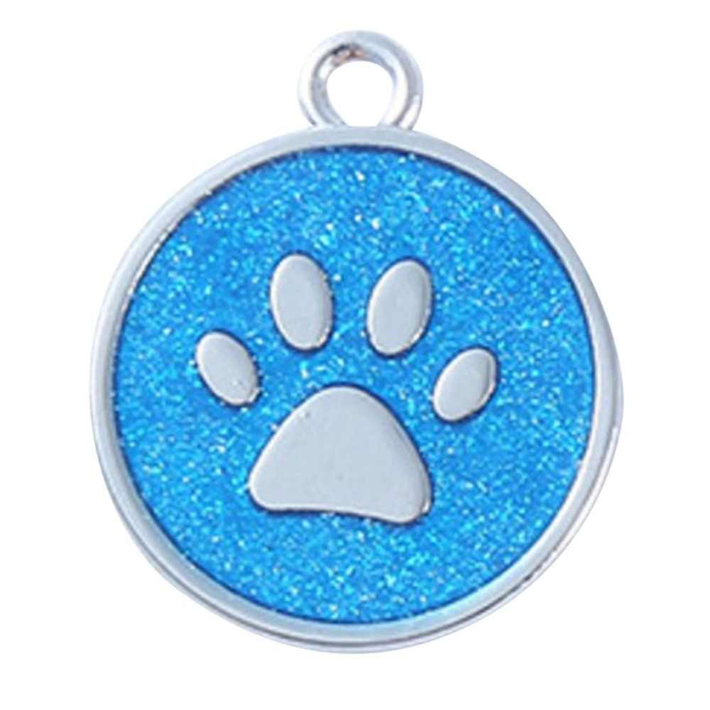 Glitter Footprint Shape Identity Card Stainless Steel Dog Tag Fashion Pendant Decor Lovely Pet Jewelry Anti-Lost Frame Card
