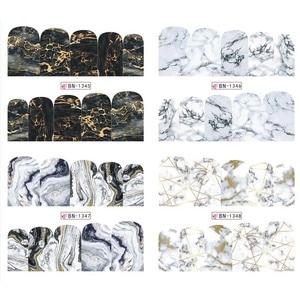 Image 3 - 12 デザイン大理石の質感ネイルステッカー水デカールグレーブルーマーブルシリーズネイルのヒントマニキュアフルラップ装飾 BN1345 1356
