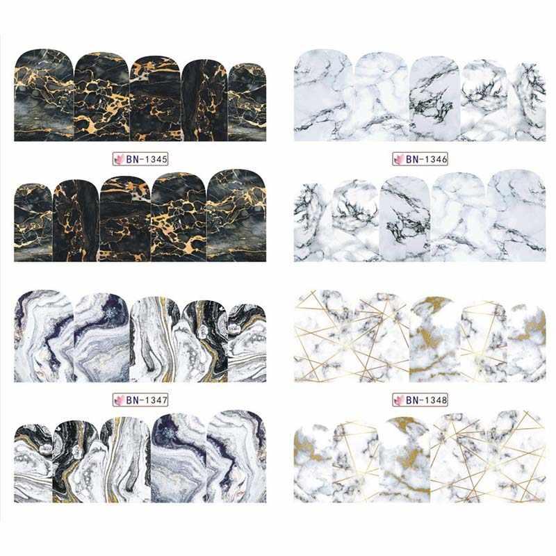 12 การออกแบบพื้นผิวหินอ่อนสติกเกอร์เล็บ Decals สีเทา Marble Series เล็บเคล็ดลับเล็บเต็มรูปแบบตกแต่งเล็บ BN1345-1356