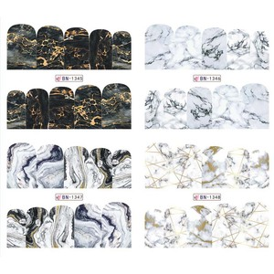Image 3 - 12 Designs Marble Texture Nail Sticker Water Decals gray blue Marble Series Nail Tips Manicure Full Wraps Nail Decor BN1345 1356
