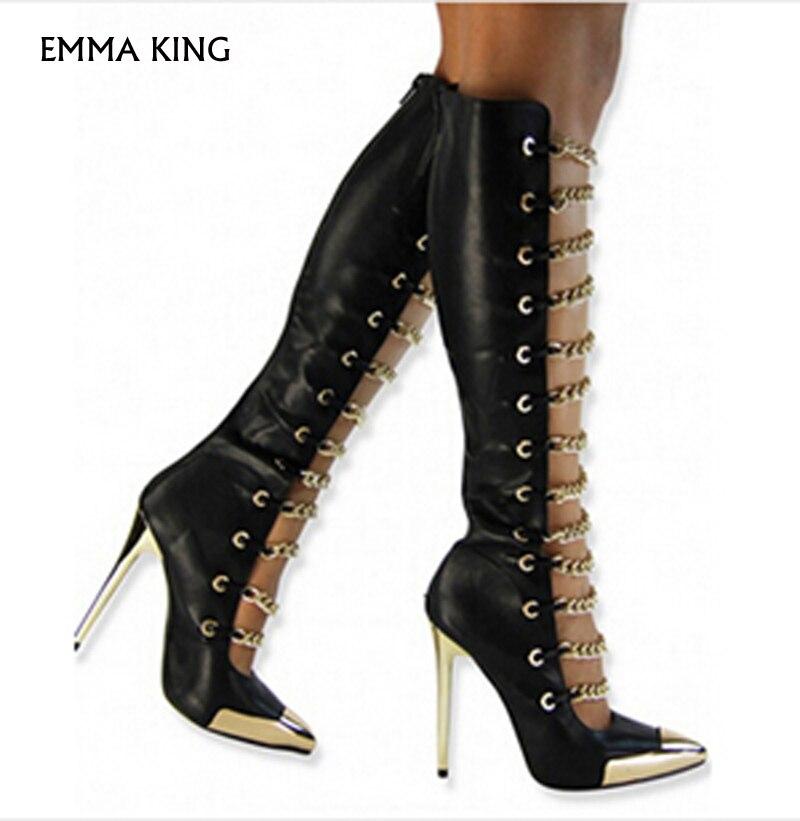 Primavera Zapatos Del King Tacón Metal Botas Diseño As Punta as La Emma Nueva Moda Pic Dedo Mujer Cadena Pie De Pic Oro Alto Sexy 5Tnxzq0