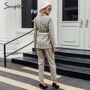 Image 2 - Simpleeチェック柄ダブルブレスト女性ブレザースーツセット長袖パンツスーツ女性のカジュアルなストリートズボンスーツ