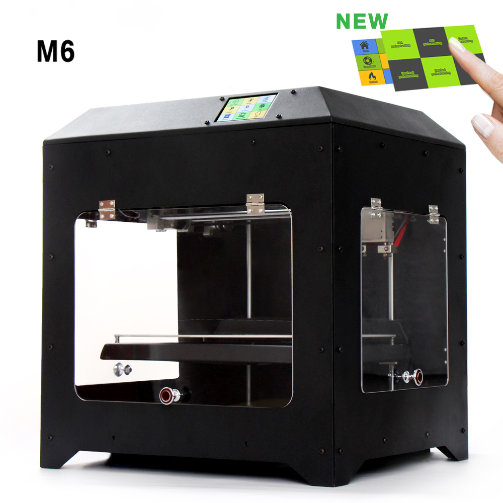 Double Color M6 3D Printer 2017 High Quality Dual extruder Full Metal Printers 3d with Free PLA Filaments 1set gift hot sale wanhao d4s 3d printer dual extruder with multicolor material in high precision with lcd and free filaments sd card