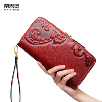 High Quality Chinese Style Genuine Leather Vintage Female Zipper Purse Name Brand Fashion Flower Pattern Clutch