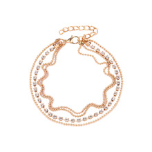 Fashion Elegant Women Charms Gold/Silver Multi-layer Sandal Barefoot Anklet Crystal Rhinestone Beads Foot Chain Romantic Jewelry