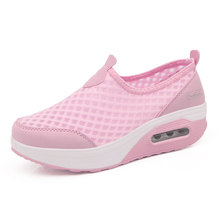 Summer Walking Shoes Women Platform Swing Shoes Breathable Wedge Sports shoe Height Increasing Health Female Sneakers wholesale