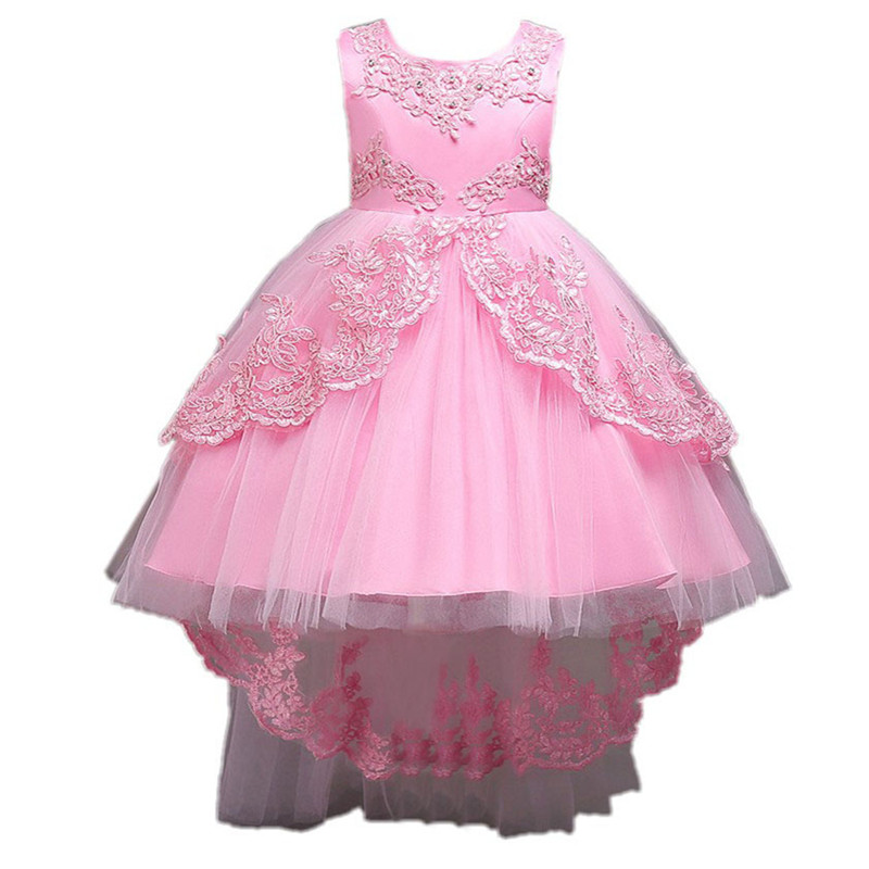 3-12T Brand Lace Flower Girl Dress Red Sequin Princess Tutu Party Wedding Dresses for Girls Christmas Style Sweet Kids Dress