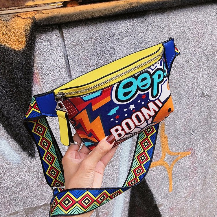 Fashion Waist Bag Women Personality Belt Bags Pu Leather Graffiti Chest Handbag WIth Colorful Shoulder Belt