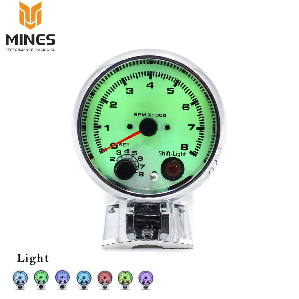 Cnspeed 252mm Smoke 270 Degree 0 8000 Rpm Gauge Tachometer Car Auto Wiring Diagram Cool 375 7 Color Selectable Display White Face Chrome Housing