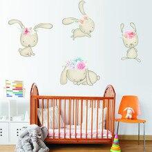 дешево!  Симпатичные Элегантный Маленький Кролик Носить Венок Наклейка На Стену детские Дети Искусство