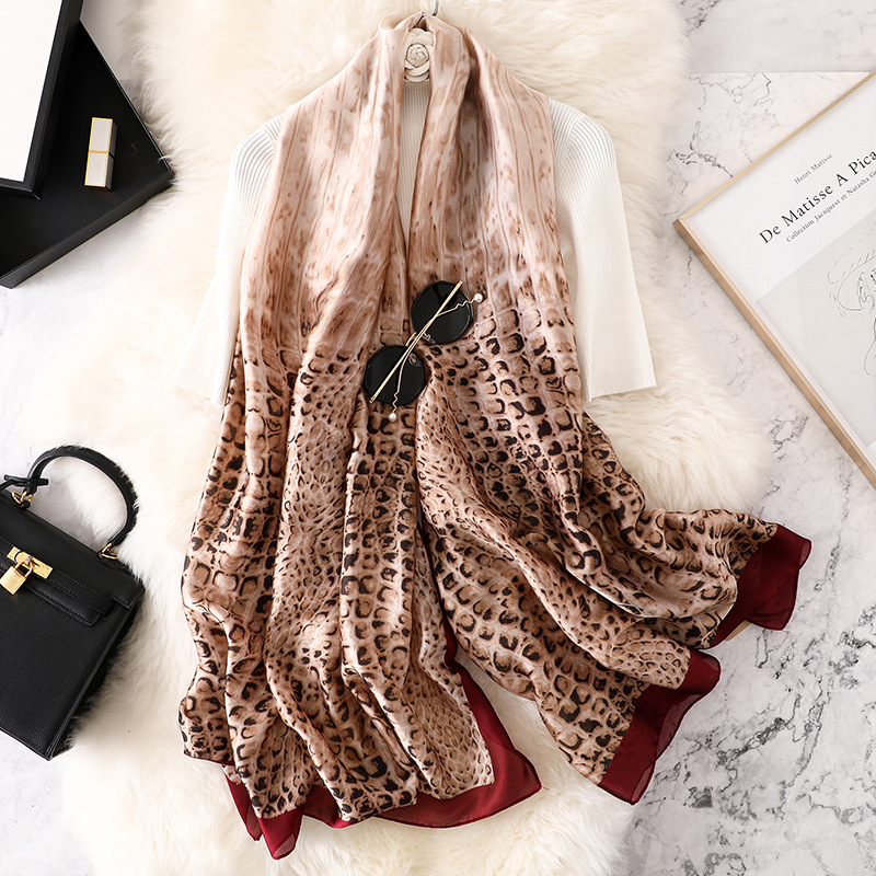 Brand silk   Scarf   women Leopard print Spring Summer Plus Size Female shawl women long head   Scarves     Wraps   High quality pashmina