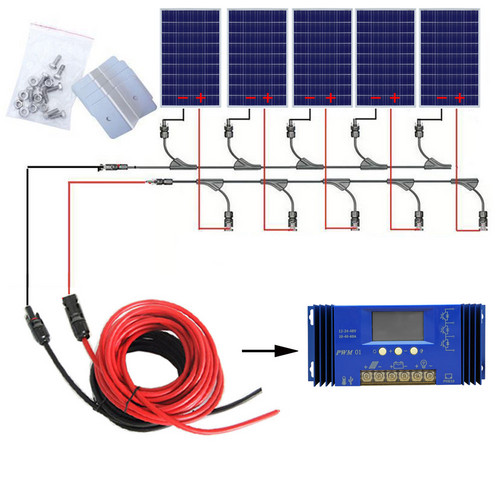 500W Off Grid System: 5pcs 100W 18V Poly Solar power Panel with 60A Controller for 12v Battery charger home Polycrystalline kit500W Off Grid System: 5pcs 100W 18V Poly Solar power Panel with 60A Controller for 12v Battery charger home Polycrystalline kit