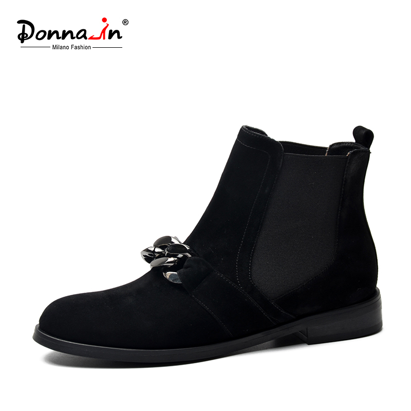 Donna in Chelsea Booties Women Genuine Leather Ankle Boots Metal Chains Natural Suede Low Heels Boots
