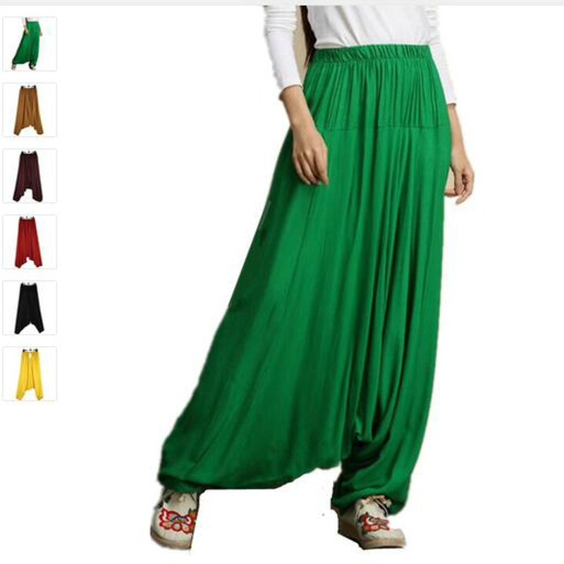 Women's Summer Autumn Harem   Pants   Casual Loose Cotton Solid   Wide     Leg     Pants   Plus Size M-5XL loose long bloomers trousers