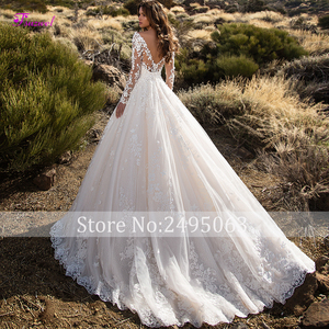 Glamorous Court Train Appliques Lace A-Line Wedding Dress 2020 Sexy Scoop Neck Flowers Long Sleeve Princess Bride Gown Plus Size