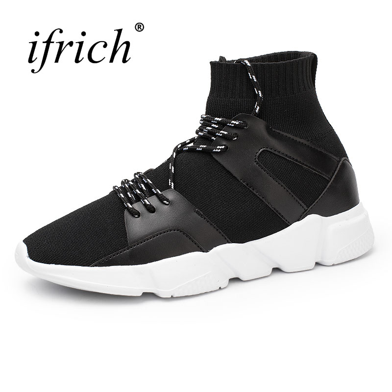 Ifrich New Cool Running Shoes Mens Sneakers with Sock Comfortable Men Walking Jogging Shoes Black Mens Sneakers Sport Trainers