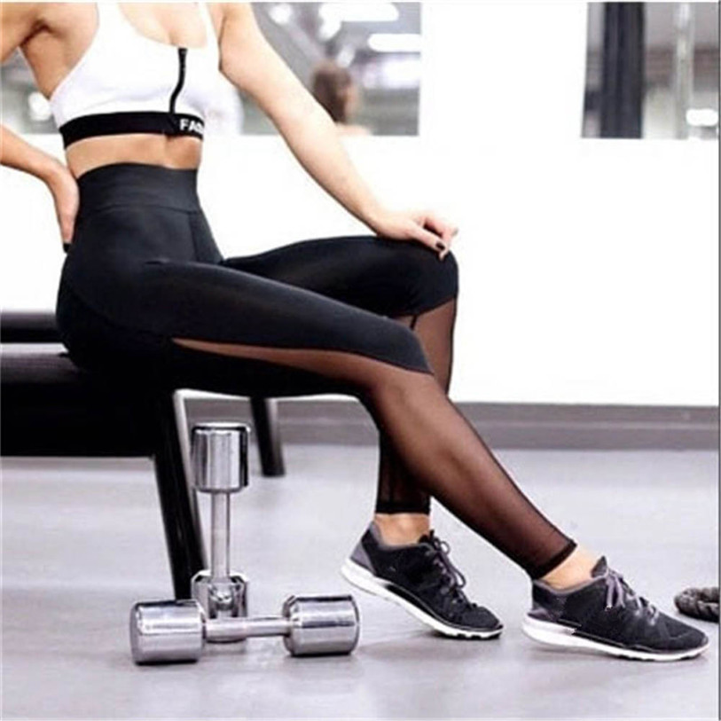 Hot 1PCS Women Pants 2018 Women Fitness   Leggings   High Waist Mesh Patchwork   Leggings   Skinny Push Up Pants Black Plus Size May 25