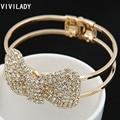 VIVILADY Lowest Price Cute Rhinestone Crystal Bowknot Butterfly Cuff Bangles Bracelet Jewelry Women Femme Bijoux Accessory Gift