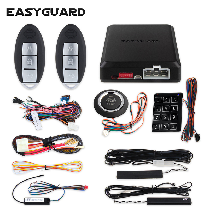 EASYGUARD PKE Car Alarm System Auto Start Push Button Start Passive Keyless Entry Remote Start Stop Touch Password Keypad