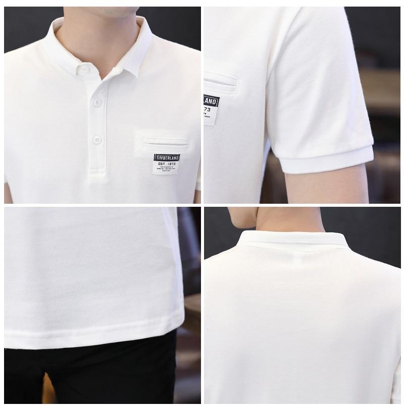 Mens Polo Shirt Summer Style Men Business Casual Solid Color Short Sleeve Polo Shirt Slim Cotton Polo Shirt Men Fake Pocket 3