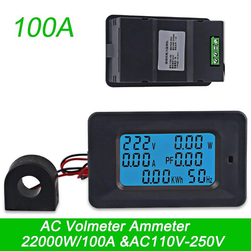 AC 22000W 250V 100A Digital Voltage Meters Power Energy Voltmeter Ammeter Indicator Current Amps Volt Wattmeter Tester Detector square led digital voltmeter ammeter signal lights volt voltage current combo meter indicator tester measuring ac 60 500v 0 100a