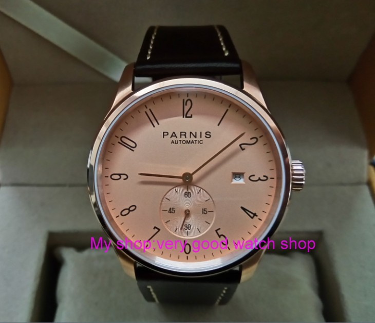 40mm PARNIS Rose gold dial Automatic Self-Wind Mechanical movement men's watch Auto Date Rose gold case zdgd119 original binger mans automatic mechanical wrist watch date display watch self wind steel with gold wheel watches new luxury