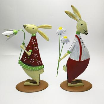 Free shipping,2pcs,High-21cm,Metal fashion lovers rabbit/chicken home decoration.birthday gift married,baby room christmas,Xmas