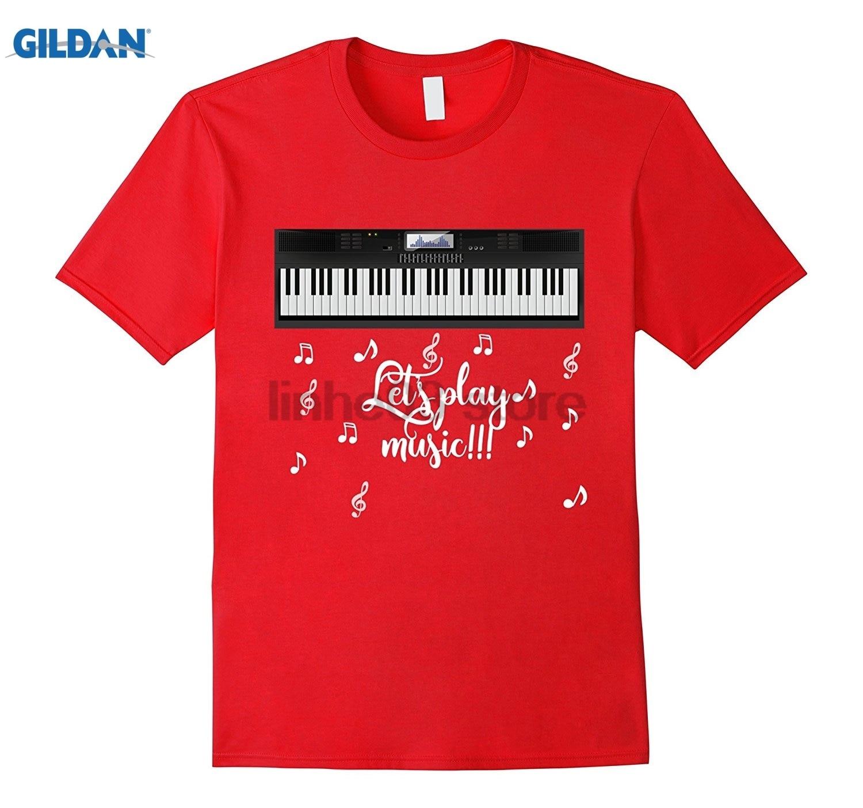 GILDAN Musical Keyboard T-Shirt Piano Instrument Dress female T-shirt