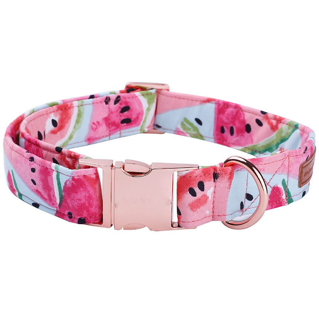 Watermelon Pink Cotton Fabric Dog Collar and Leash Set with Bow Tie for Big and Small Dog Rose Gold Metal Buckle Pet Accessories 2