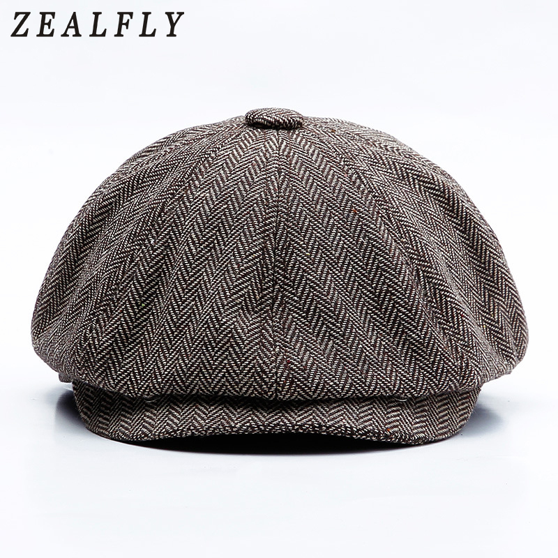 Classic Vintage Herringbone Men'S Hat Peaky Blinders Octagonal Cap Female Fashion Casual Flat Beret New Peaked Caps