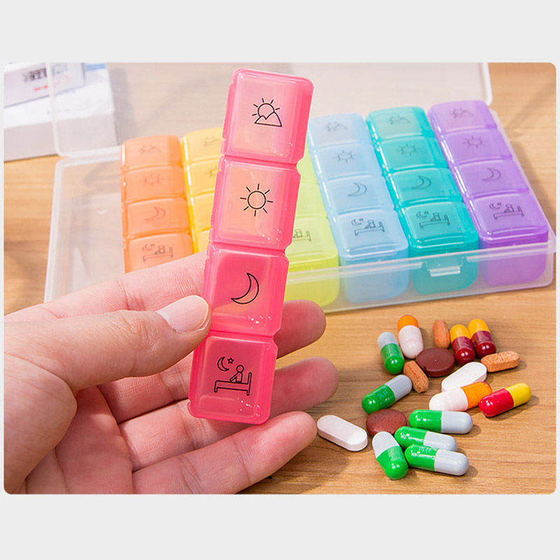 4 Times a Day 7 Days Rainbow Pill Storage Box with 28 Compartments for Health Care Purpose 2