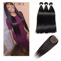 Brazilian Straight Modern Show Hair Products 3 Bundles Virgin Hair With Closure Brazilian Straight Hair With Closure