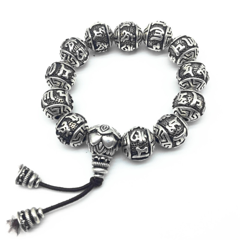 Retro Vintage Tibetan Silver Buddhism Mantras Bracelet Men Amulet Six Words Om Mani Padme Hum Lotus Beads Bracelet For Women 16mm round sandalwood thai silver beads bracelet for women buddhism six letter scripture women men fine silver 990 jewelry sb69