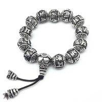 Vintage Tibétain Argent Bouddhisme Laiton Mantras Amulettes Bracelet Six Mots Om Mani Padme Hum Perles Bracelet Pour Femmes Et Hommes