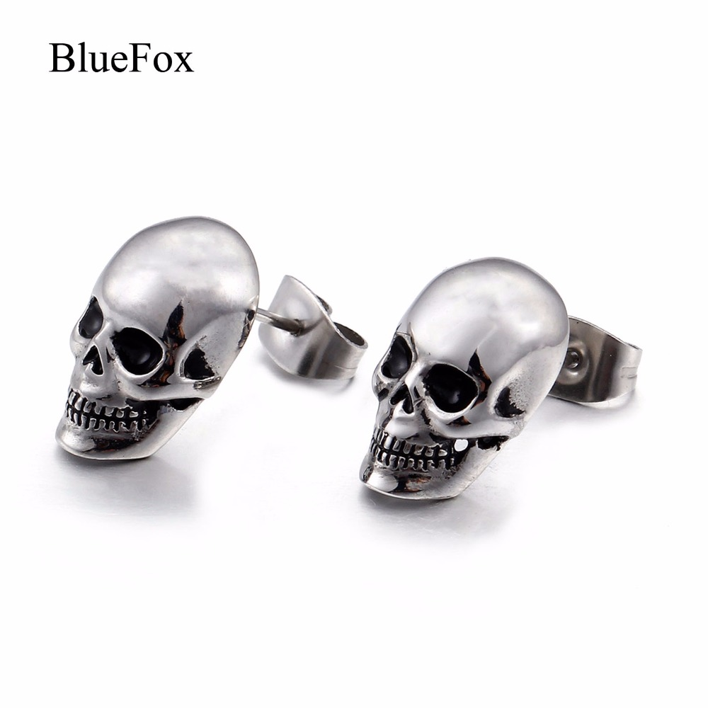 Chic Charms Punk 316L Titanium Stainless Steel Men Skeleton Stud Earrings Fashion Jewelry Accessories Slivery Mens Earrings Gift