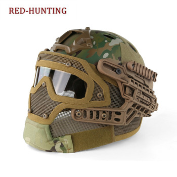 Multicam CP Camouflage Tactical Fast Helmet PJ Type with Protective Goggle and Mesh Face Mask for Airsoft Paintball