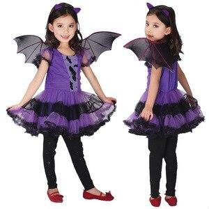 Image 5 - 90 160 cm בנות ליל כל הקדושים סגול עטלף ערפד נסיכת שמלת כנף סרט קוספליי תלבושות ילדים סטי מפחיד ליצן מכשפה בגדים