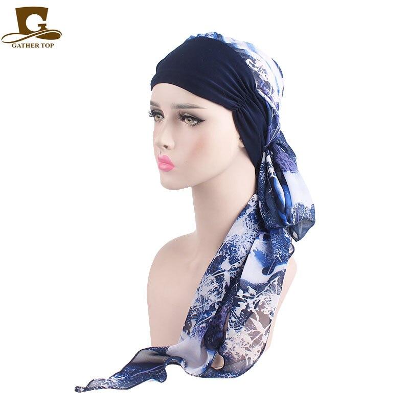 Elegant Women Chemo Headwear Long Hair Turbans Headband Cancer Hats Boho Pre -Tied Bandana Headscarf Ladies Hair accessories 486e096a3a5